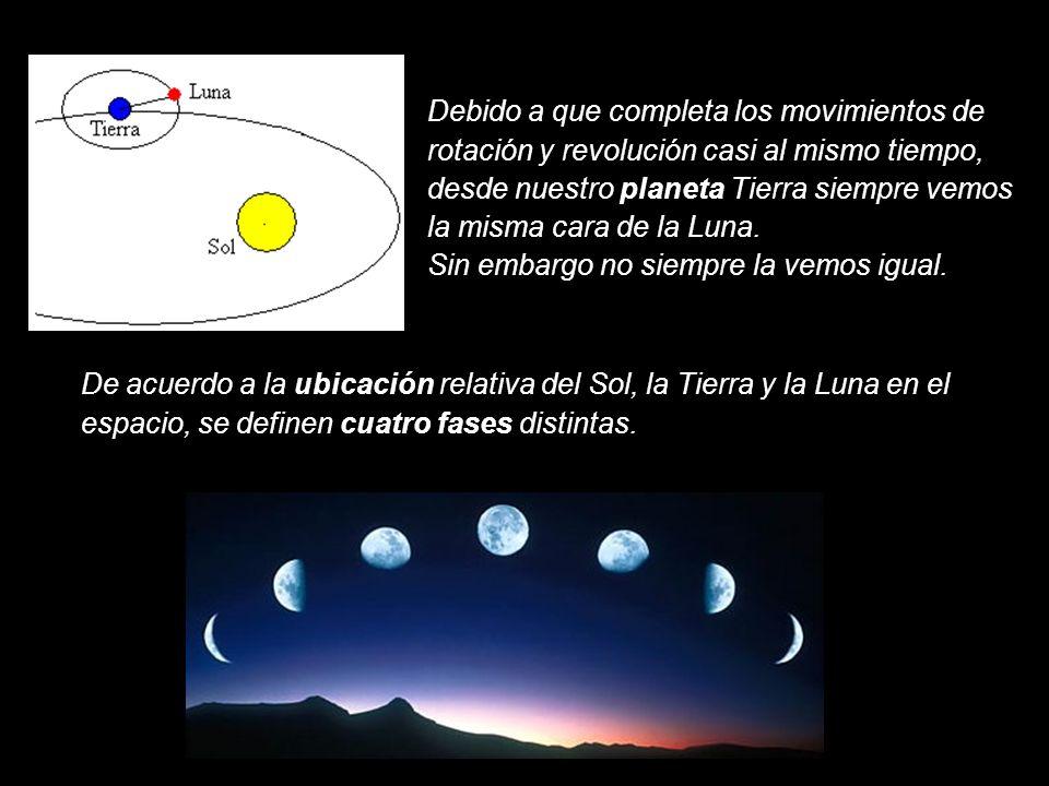Debido a que completa los movimientos de rotación y revolución casi al mismo tiempo, desde nuestro planeta Tierra siempre vemos la misma cara de la Lu