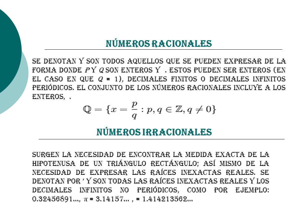 Números Racionales Se denotan y son todos aquellos que se pueden expresar de la forma donde p y q son enteros y. Estos pueden ser enteros (en el caso