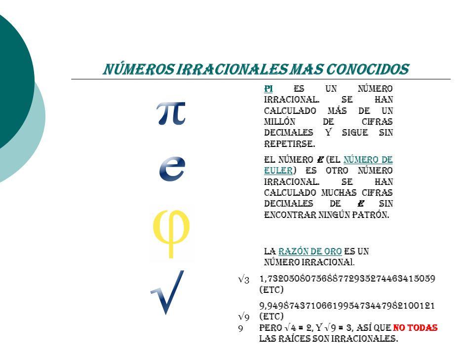 Números Irracionales mas conocidos PiPi es un número irracional. Se han calculado más de un millón de cifras decimales y sigue sin repetirse. El númer