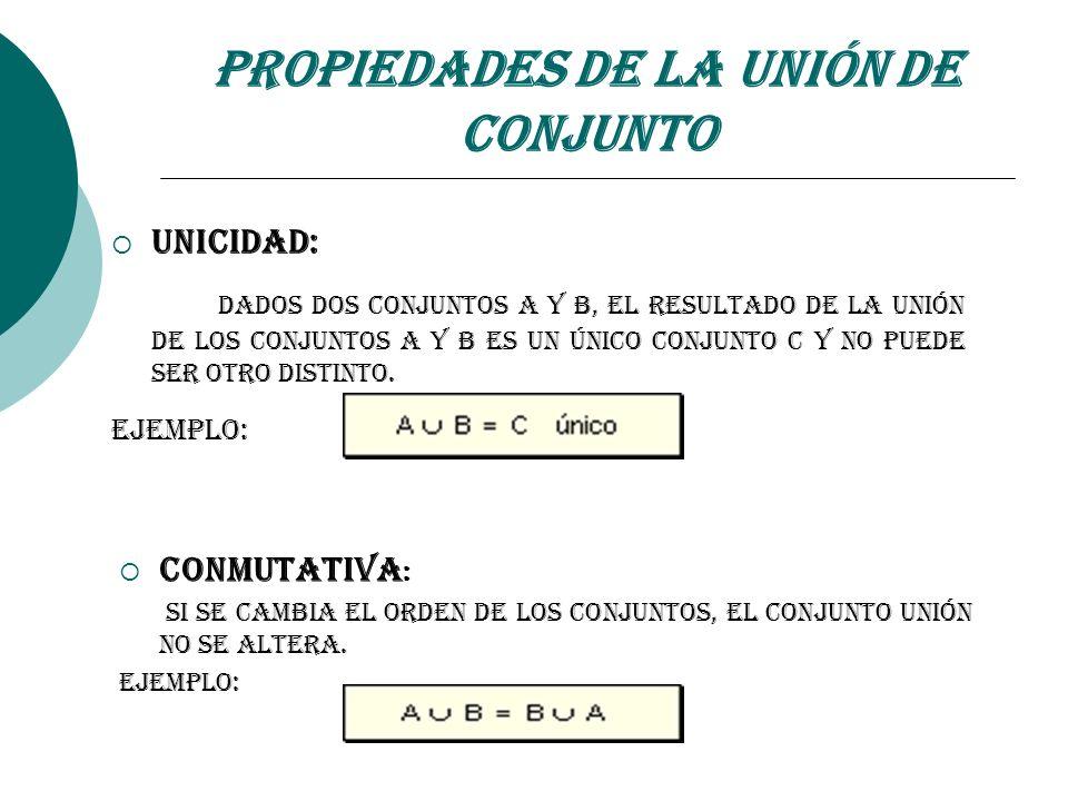 Propiedades de la Unión de Conjunto Unicidad: Dados dos conjuntos A y B, el resultado de la Unión de los Conjuntos A y B es un Único Conjunto C y no p