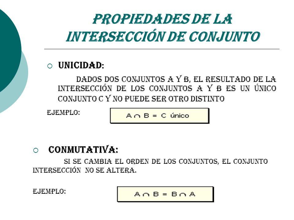 Unicidad : Dados dos conjuntos A y B, el resultado de la intersección de los conjuntos A y B es un único conjunto C y no puede ser otro distinto Ejemp