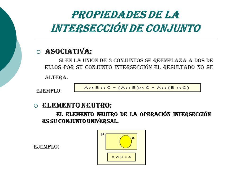 Propiedades de la Intersección de Conjunto Asociativa: Si en la unión de 3 conjuntos se reemplaza a dos de ellos por su conjunto intersección el resul