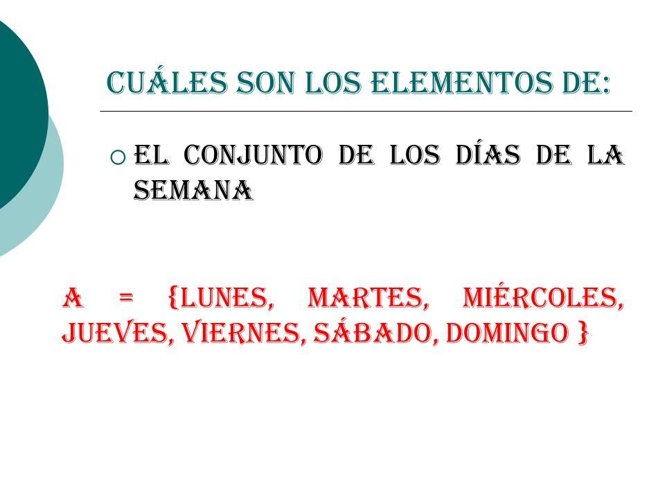 Cuáles son los elementos de: El conjunto de los días de la semana A = {lunes, martes, miércoles, jueves, viernes, sábado, domingo }
