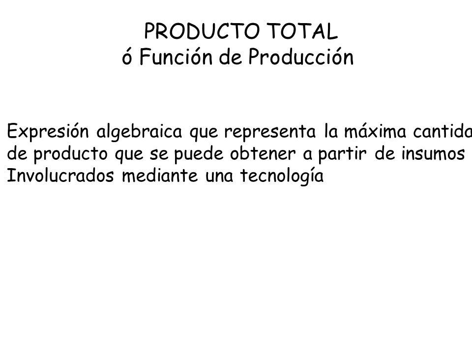 PRODUCTO PROMEDIO Representa la producción que en promedio van generando Las unidades acumuladas de un insumo variable usado en el proceso de producción Cantidad Producto Total Cantidad de Insumo Variable