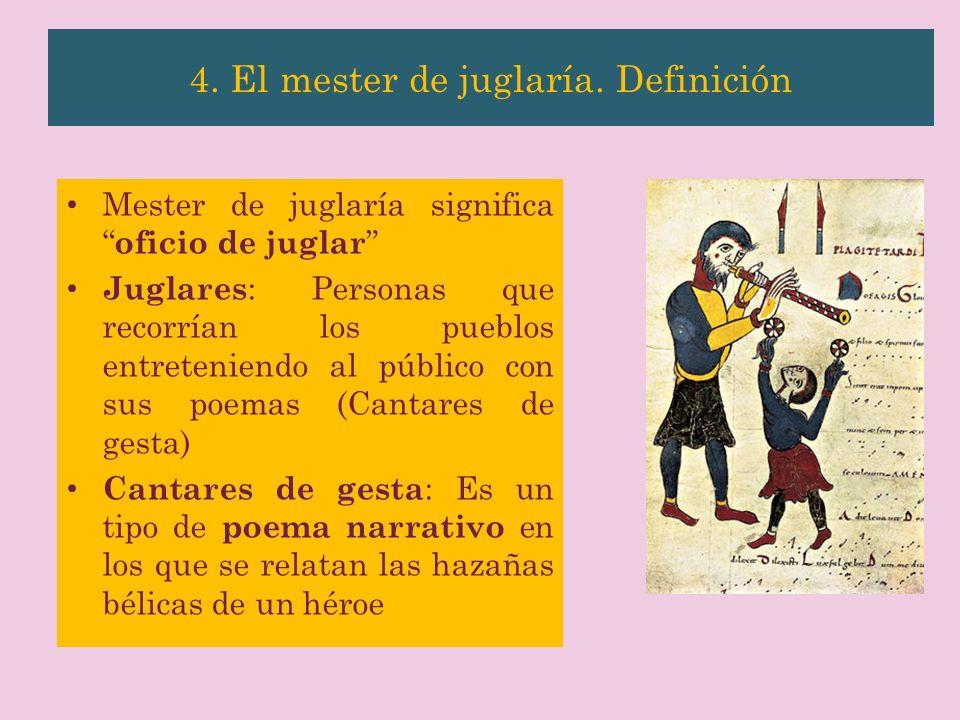Mester de juglaría significa oficio de juglar Juglares : Personas que recorrían los pueblos entreteniendo al público con sus poemas (Cantares de gesta