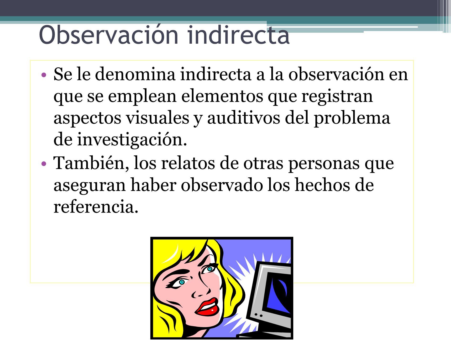 Tipos de observación directa Participante: cuando el investigador forma parte del grupo investigado y asume sus mismos comportamientos. No participant