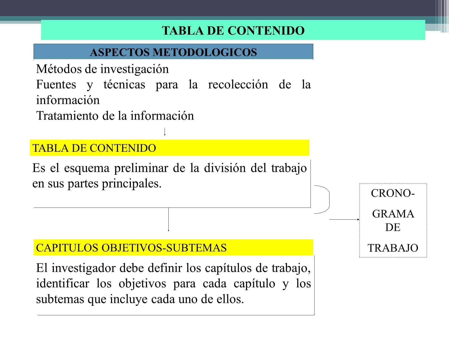 TRATAMIENTO DE LA INFORMACION El investigador debe definir la forma de presentación de los datos, representación escrita, semitabular, tabular, uso de