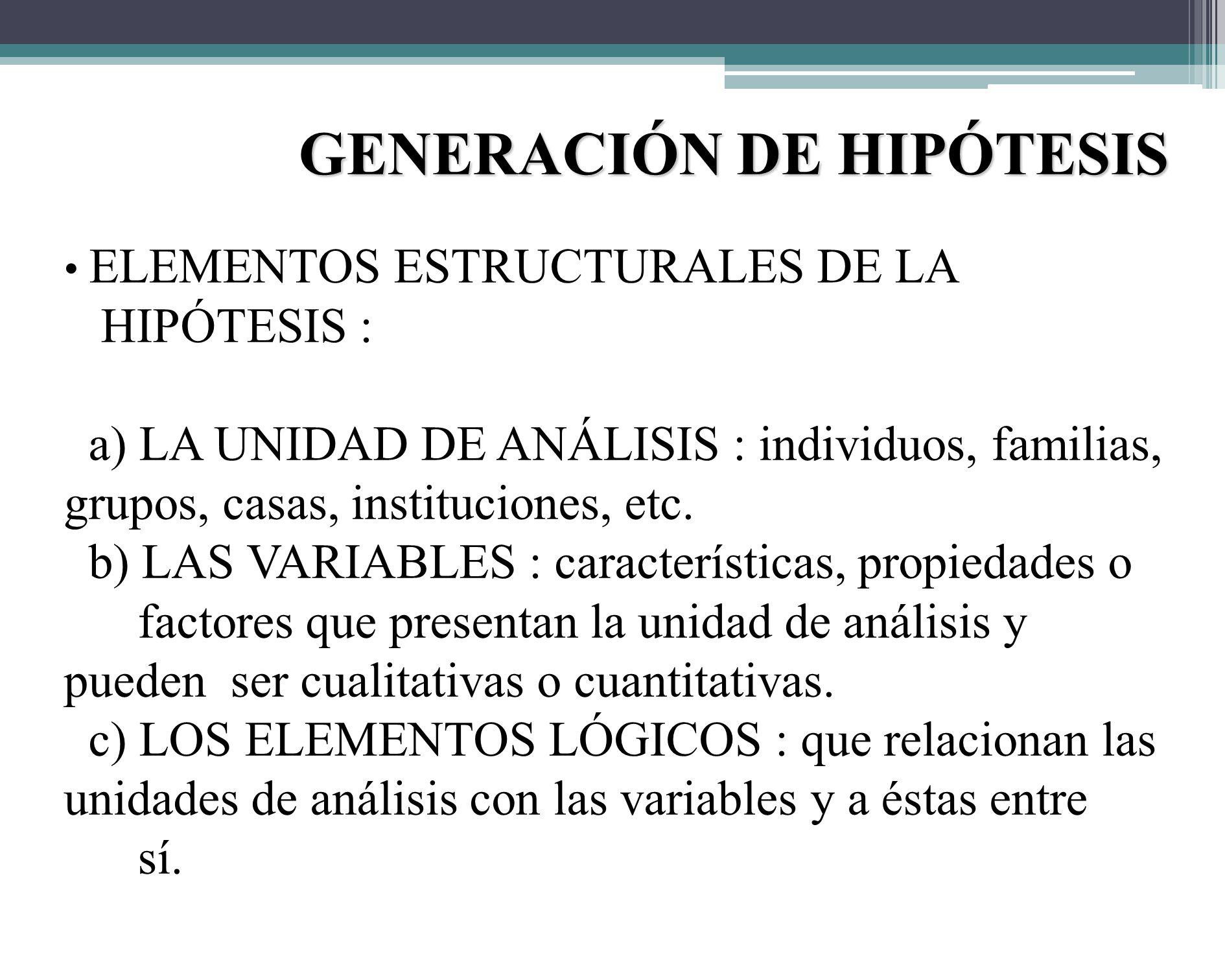 GENERACIÓN DE HIPÓTESIS 2) LA HIPÓTESIS DEDUCTIVA : Tienen como punto de partida leyes generales o teorías que se aplican a situaciones particulares.