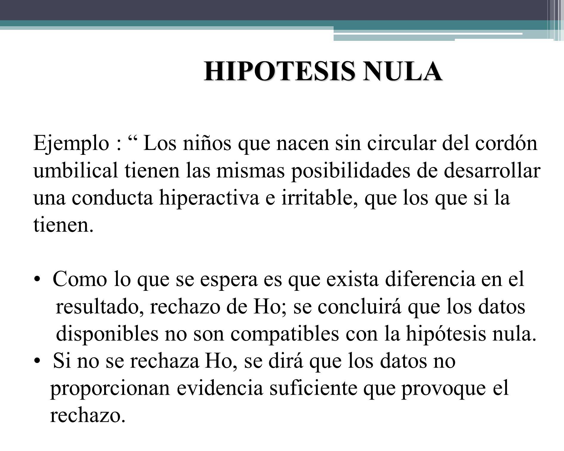 HIPÓTESIS ESTADÍSTICA : Nula y alterna 1.HIPÓTESIS NULA : Ho, o hipótesis de no diferencia; se refiere al planteamiento del supuesto de que el valor o