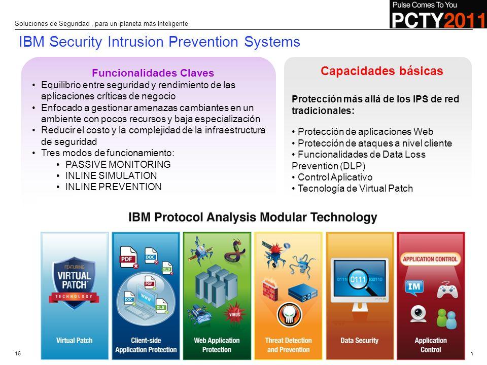 © 2010 IBM Corporation Funcionalidades Claves Equilibrio entre seguridad y rendimiento de las aplicaciones críticas de negocio Enfocado a gestionar am