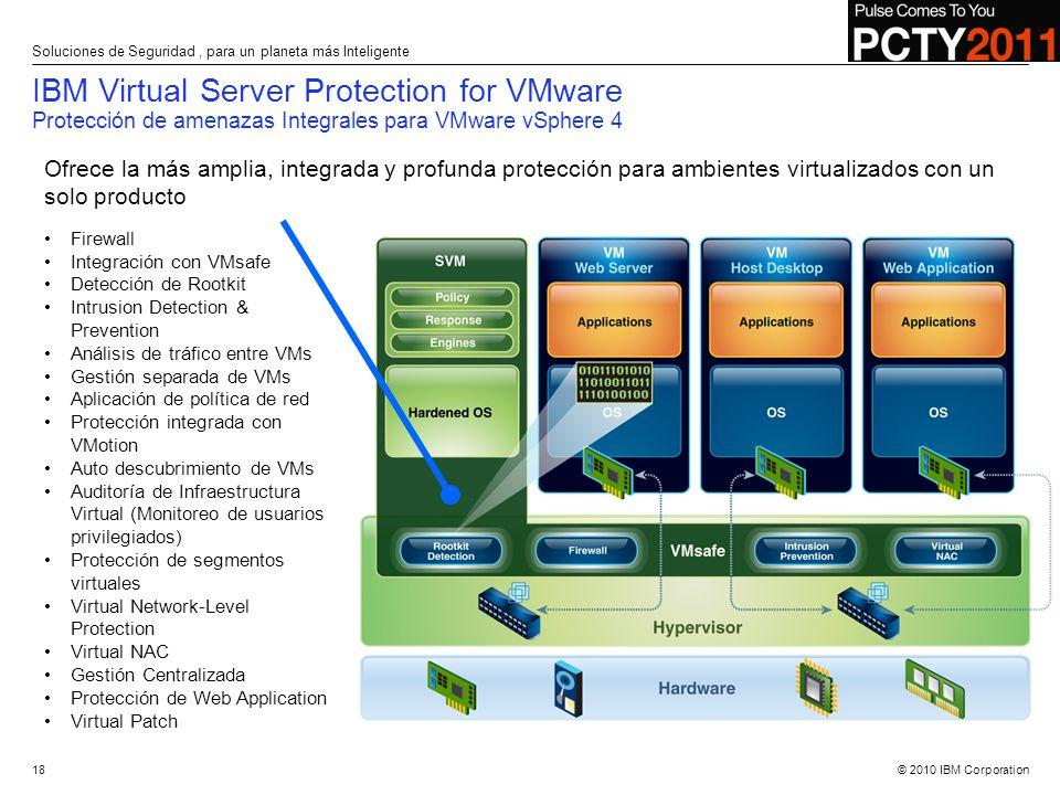 © 2010 IBM Corporation IBM Virtual Server Protection for VMware Protección de amenazas Integrales para VMware vSphere 4 Ofrece la más amplia, integrad