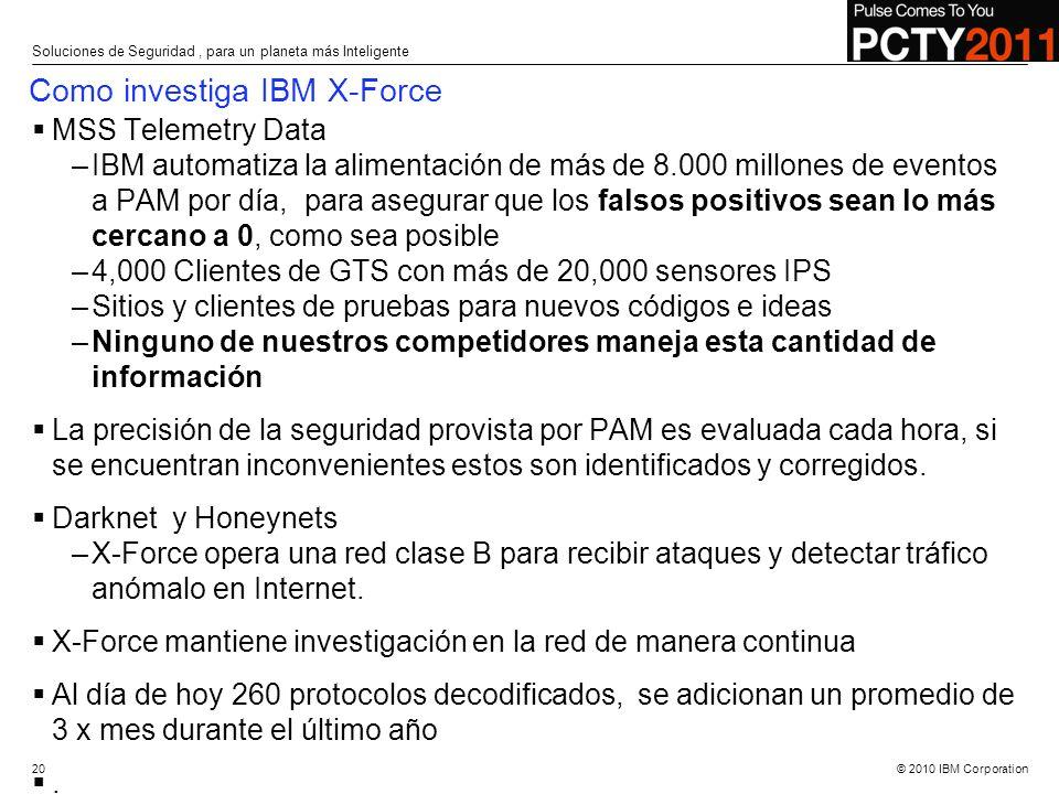 © 2010 IBM Corporation MSS Telemetry Data –IBM automatiza la alimentación de más de 8.000 millones de eventos a PAM por día, para asegurar que los fal