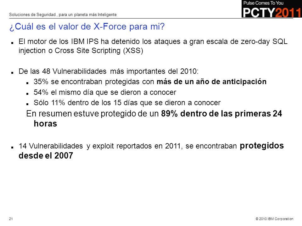 © 2010 IBM Corporation El motor de los IBM IPS ha detenido los ataques a gran escala de zero-day SQL injection o Cross Site Scripting (XSS) De las 48