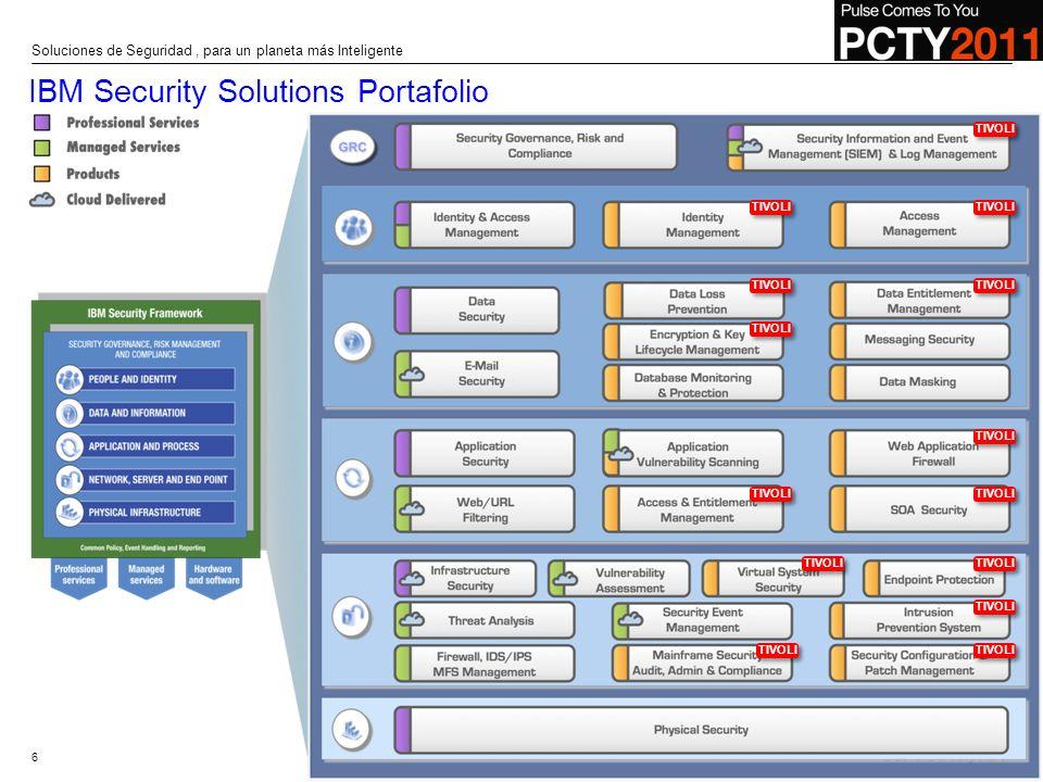 © 2010 IBM Corporation IBM Security Solutions Portafolio 6 Soluciones de Seguridad, para un planeta más Inteligente TIVOLI
