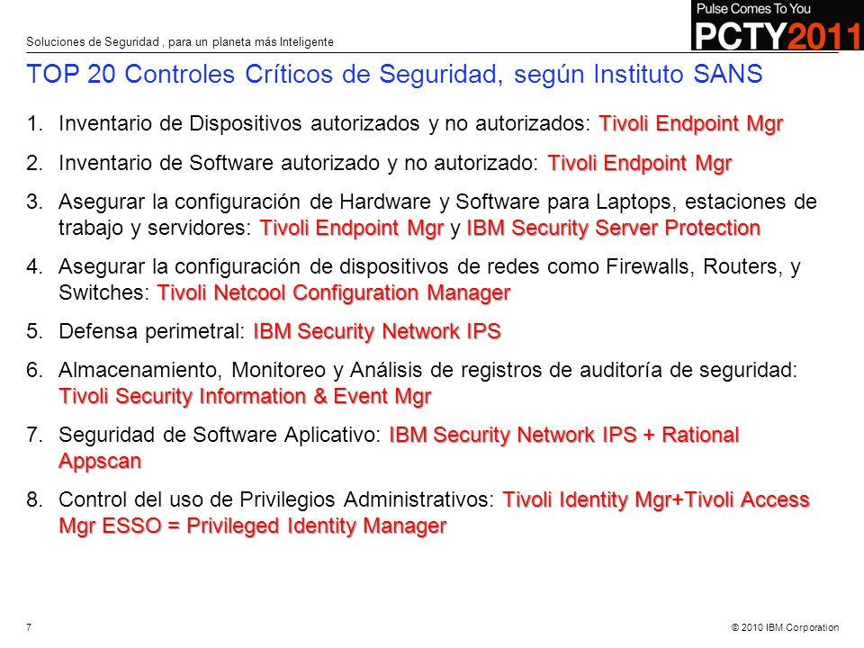 © 2010 IBM Corporation TOP 20 Controles Críticos de Seguridad, según Instituto SANS Tivoli Endpoint Mgr 1.Inventario de Dispositivos autorizados y no