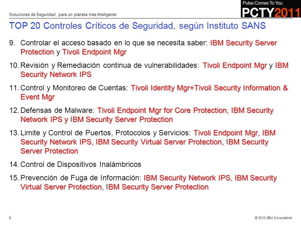 © 2010 IBM Corporation TOP 20 Controles Críticos de Seguridad, según Instituto SANS IBM Security Server Protection Tivoli Endpoint Mgr 9.Controlar el
