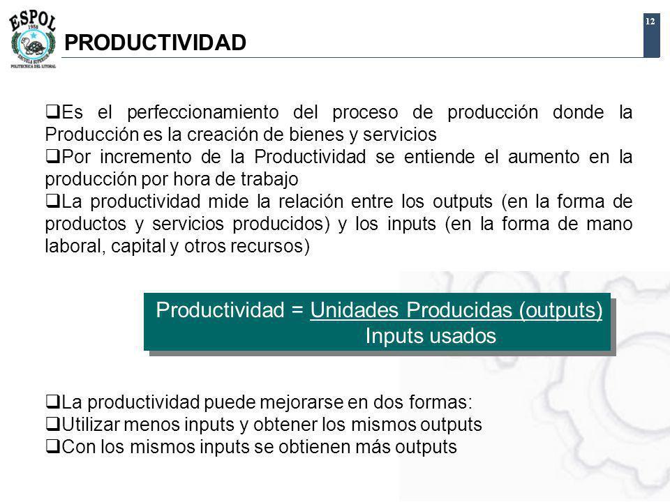 12 Es el perfeccionamiento del proceso de producción donde la Producción es la creación de bienes y servicios Por incremento de la Productividad se en