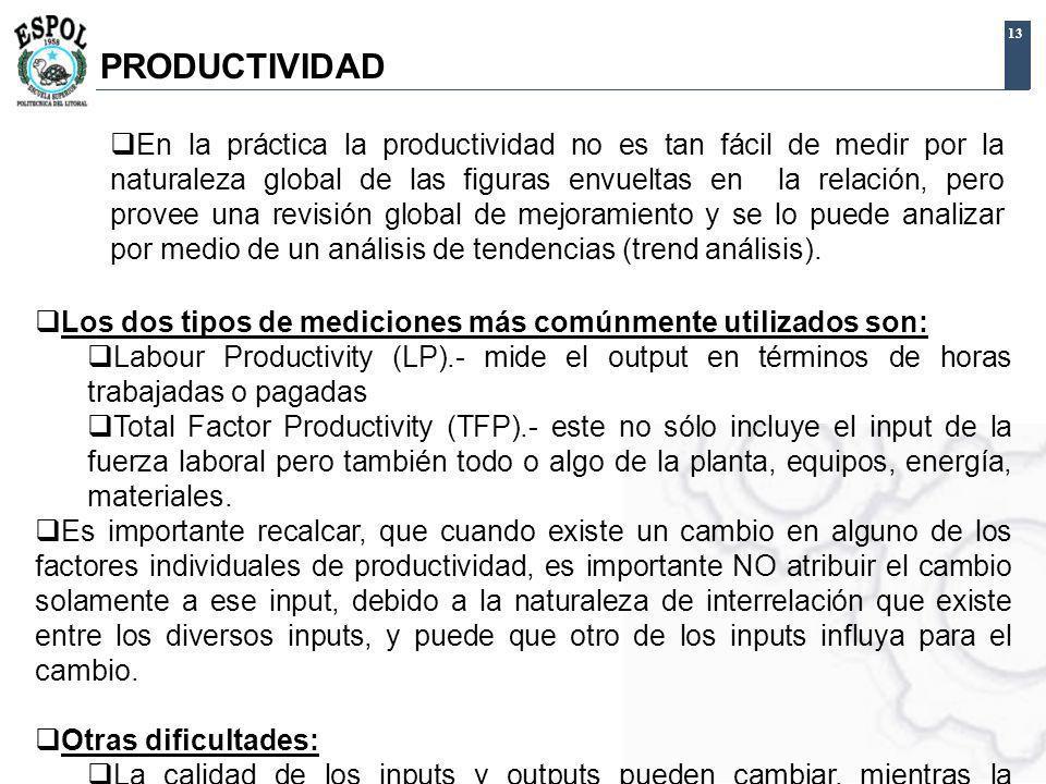 13 Los dos tipos de mediciones más comúnmente utilizados son: Labour Productivity (LP).- mide el output en términos de horas trabajadas o pagadas Tota