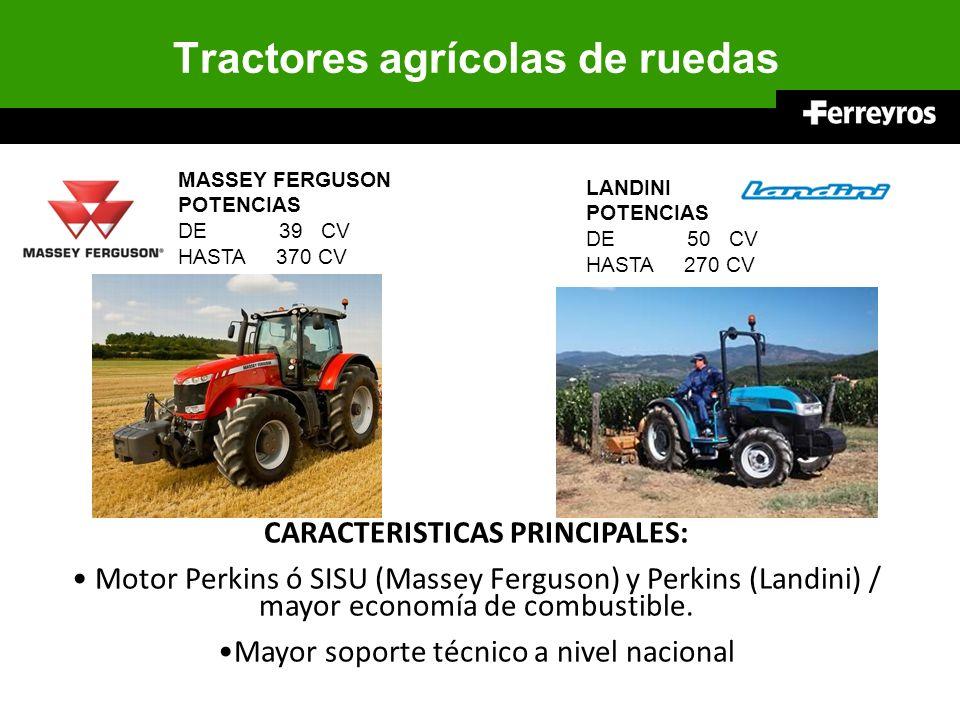 Tractores agrícolas de ruedas MASSEY FERGUSON POTENCIAS DE 39 CV HASTA 370 CV CARACTERISTICAS PRINCIPALES: Motor Perkins ó SISU (Massey Ferguson) y Pe