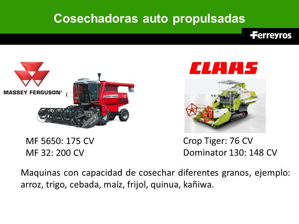 Cosechadoras auto propulsadas Maquinas con capacidad de cosechar diferentes granos, ejemplo: arroz, trigo, cebada, maíz, frijol, quinua, kañiwa. MF 56
