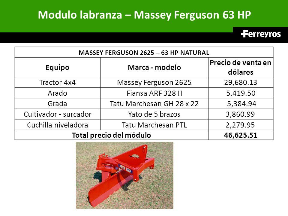 Modulo labranza – Massey Ferguson 63 HP MASSEY FERGUSON 2625 – 63 HP NATURAL EquipoMarca - modelo Precio de venta en dólares Tractor 4x4Massey Ferguso