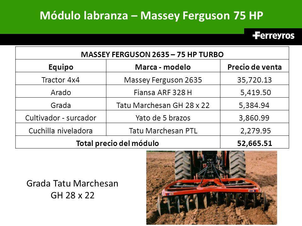 Módulo labranza – Massey Ferguson 75 HP MASSEY FERGUSON 2635 – 75 HP TURBO EquipoMarca - modeloPrecio de venta Tractor 4x4Massey Ferguson 263535,720.1