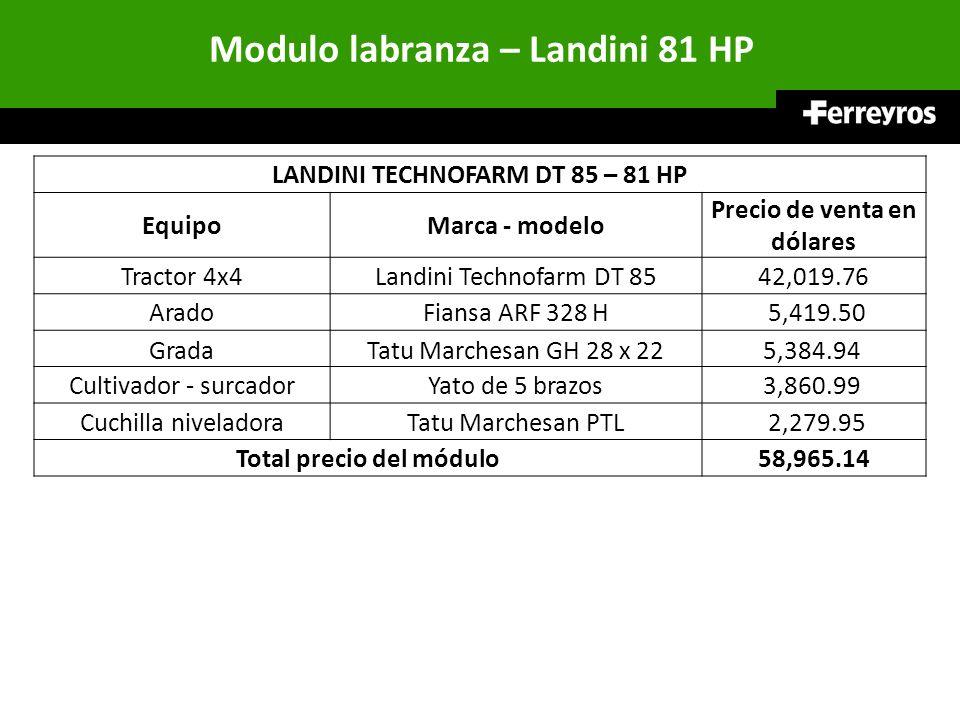 Modulo labranza – Landini 81 HP LANDINI TECHNOFARM DT 85 – 81 HP EquipoMarca - modelo Precio de venta en dólares Tractor 4x4Landini Technofarm DT 8542