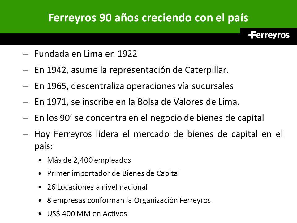 SUCURSALES FERREYROS 7 sedes en Lima 16 sucursales y oficinas de Ferreyros en provincias 8 sucursales y oficinas de Orvisa en la Amazonía OPERACIONES Y PROYECTOS DE MINERÍA, CONSTRUCCIÓN, INDUSTRIA Y ENERGÍA Servicios Pos-Venta: Presencia en todas las Regiones Taller Principal - Lima y 19 Sucursales con sus talleres en todas las regiones.