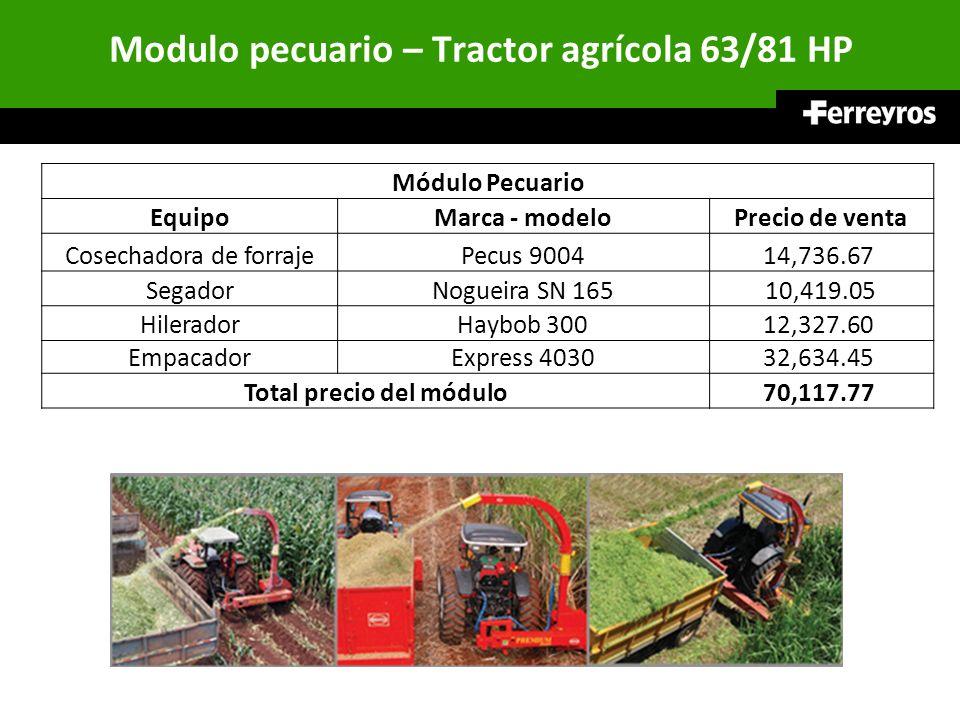 Modulo pecuario – Tractor agrícola 63/81 HP Módulo Pecuario EquipoMarca - modeloPrecio de venta Cosechadora de forrajePecus 900414,736.67 SegadorNogue
