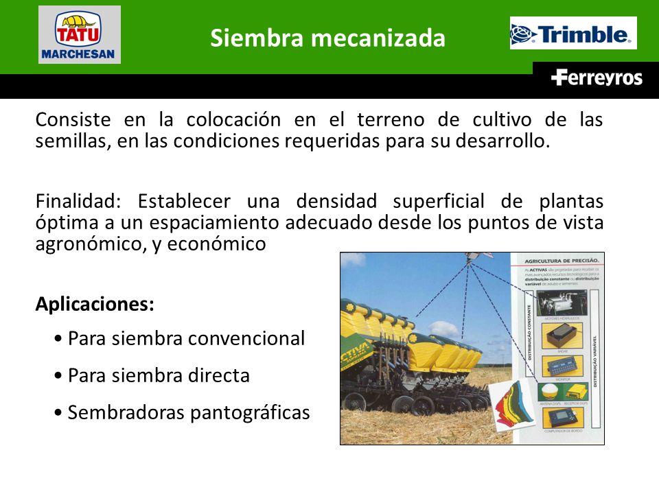 Siembra mecanizada Consiste en la colocación en el terreno de cultivo de las semillas, en las condiciones requeridas para su desarrollo. Finalidad: Es