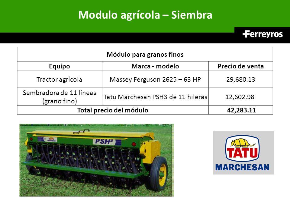 Modulo agrícola – Siembra Módulo para granos finos EquipoMarca - modeloPrecio de venta Tractor agrícolaMassey Ferguson 2625 – 63 HP29,680.13 Sembrador