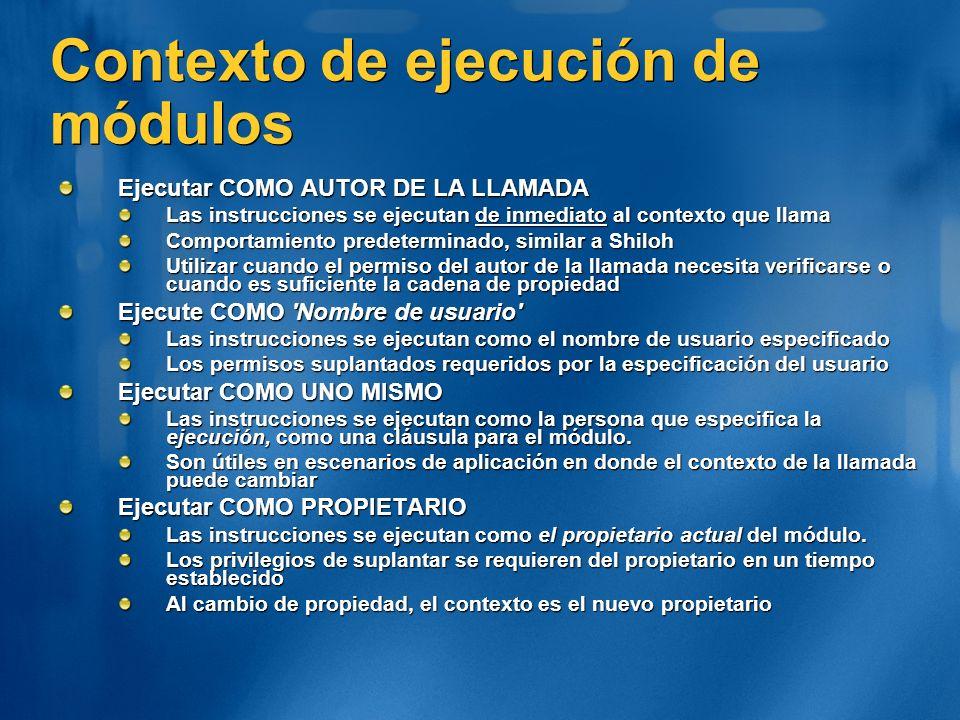 Contexto de ejecución de módulos Ejecutar COMO AUTOR DE LA LLAMADA Las instrucciones se ejecutan de inmediato al contexto que llama Comportamiento pre