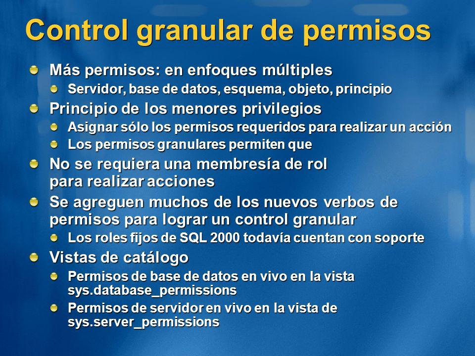 Control granular de permisos Más permisos: en enfoques múltiples Servidor, base de datos, esquema, objeto, principio Principio de los menores privileg