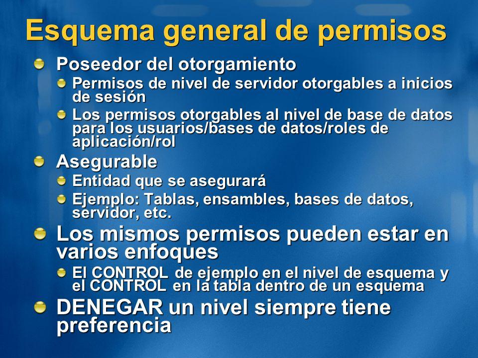 Esquema general de permisos Poseedor del otorgamiento Permisos de nivel de servidor otorgables a inicios de sesión Los permisos otorgables al nivel de