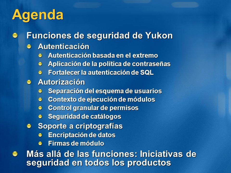 Agenda Funciones de seguridad de Yukon Autenticación Autenticación basada en el extremo Aplicación de la política de contraseñas Fortalecer la autenti