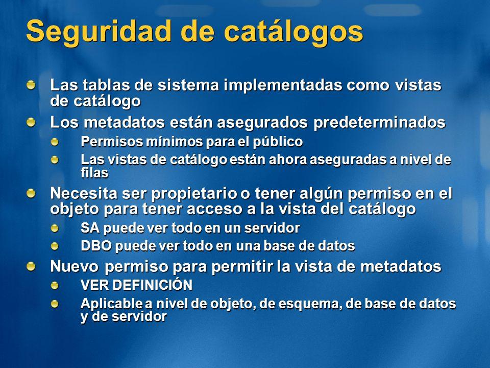 Seguridad de catálogos Las tablas de sistema implementadas como vistas de catálogo Los metadatos están asegurados predeterminados Permisos mínimos par