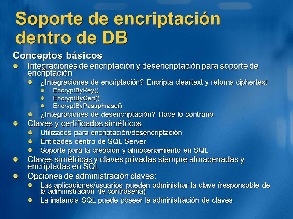 Soporte de encriptación dentro de DB Conceptos básicos Integraciones de encriptación y desencriptación para soporte de encriptación ¿Integraciones de