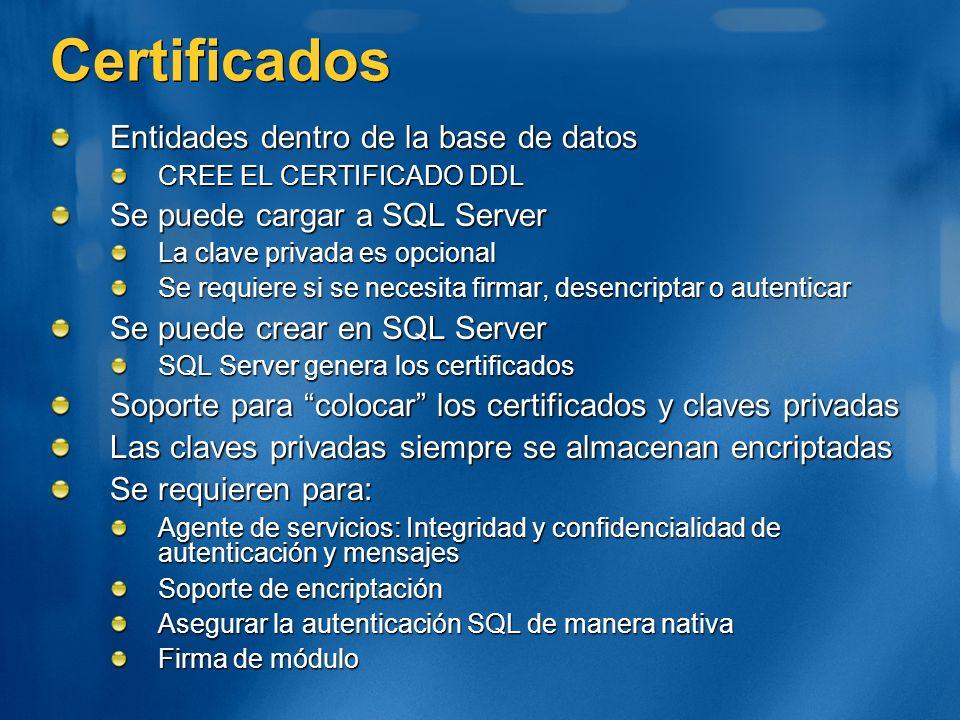Certificados Entidades dentro de la base de datos CREE EL CERTIFICADO DDL Se puede cargar a SQL Server La clave privada es opcional Se requiere si se