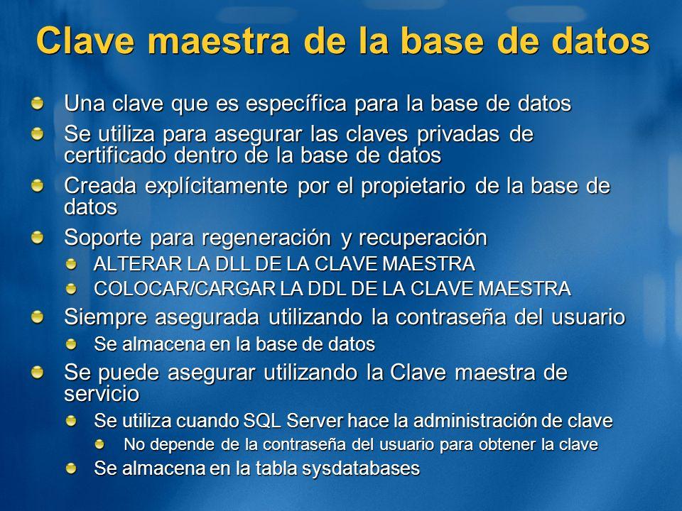 Clave maestra de la base de datos Una clave que es específica para la base de datos Se utiliza para asegurar las claves privadas de certificado dentro