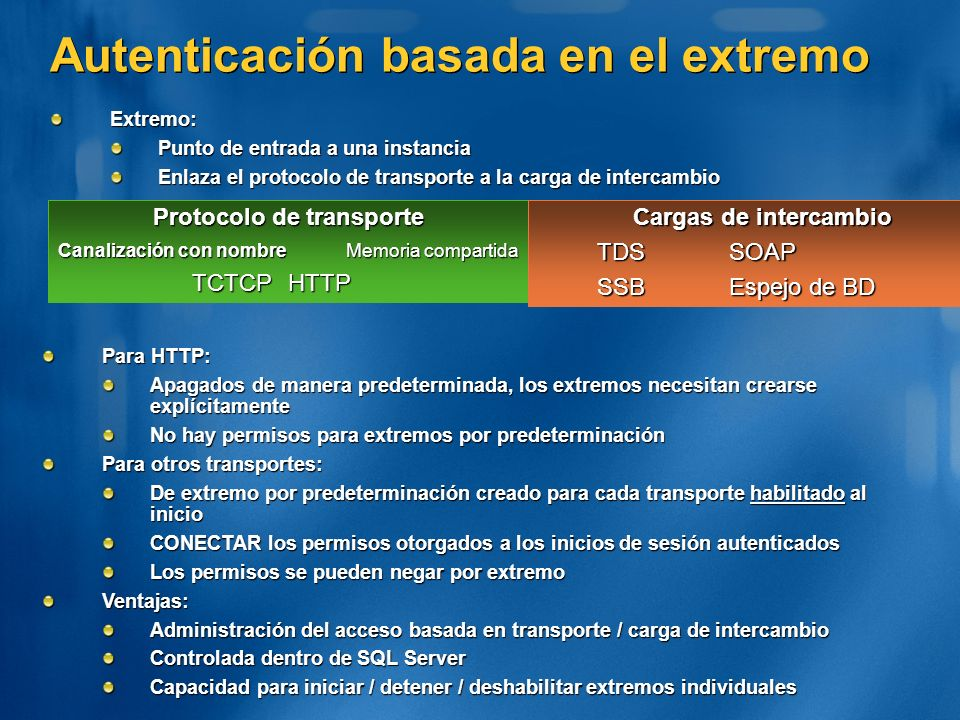 Autenticación basada en el extremo Protocolo de transporte Canalización con nombre Memoria compartida TCTCPHTTP Cargas de intercambio TDSSOAP SSBEspej