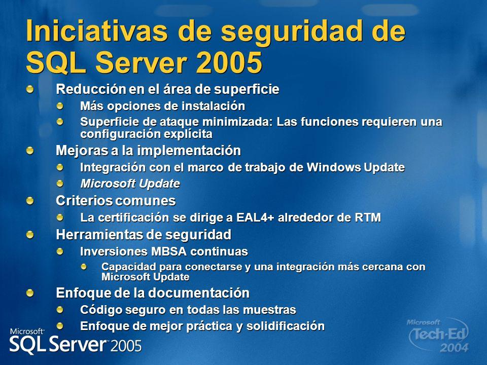 Iniciativas de seguridad de SQL Server 2005 Reducción en el área de superficie Más opciones de instalación Superficie de ataque minimizada: Las funcio