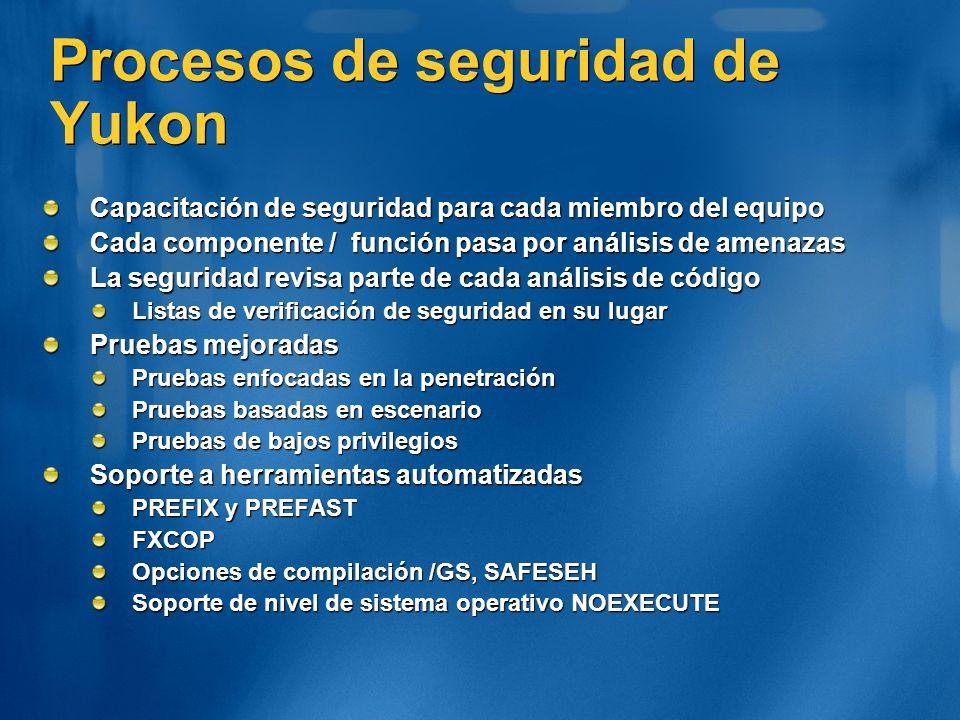 Procesos de seguridad de Yukon Capacitación de seguridad para cada miembro del equipo Cada componente / función pasa por análisis de amenazas La segur