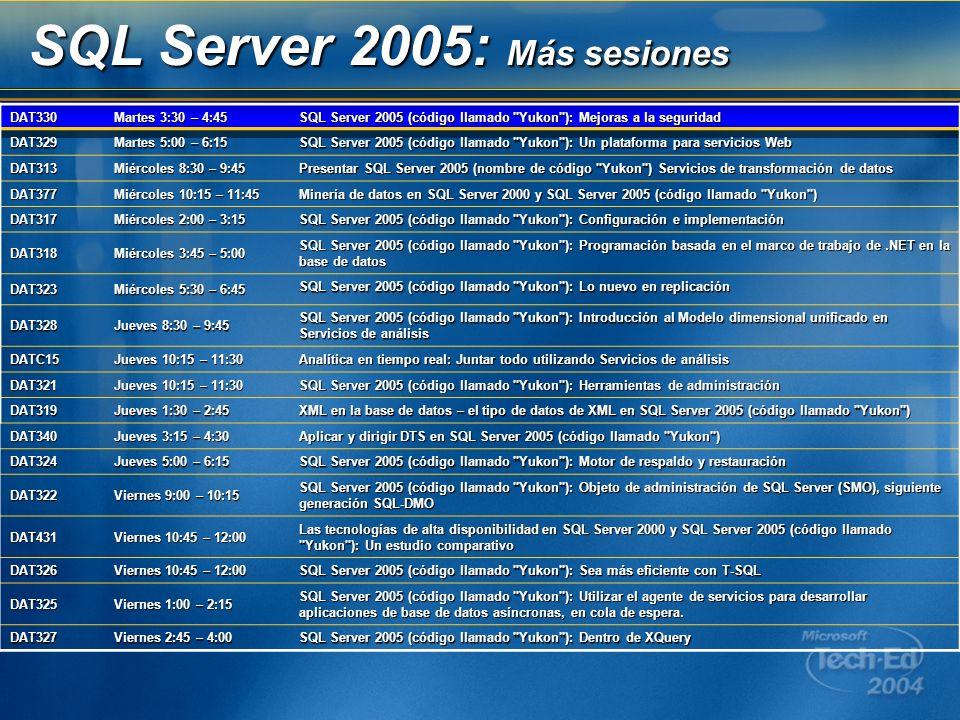 SQL Server 2005: Más sesiones DAT330 Martes 3:30 – 4:45 SQL Server 2005 (código llamado