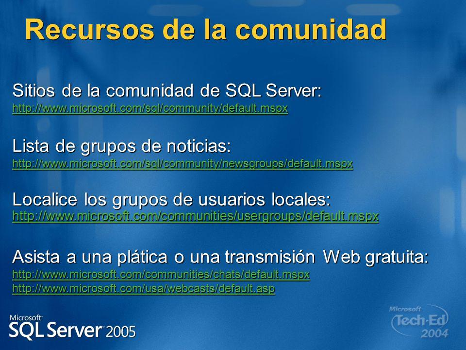 Sitios de la comunidad de SQL Server: http://www.microsoft.com/sql/community/default.mspx Lista de grupos de noticias: http://www.microsoft.com/sql/co