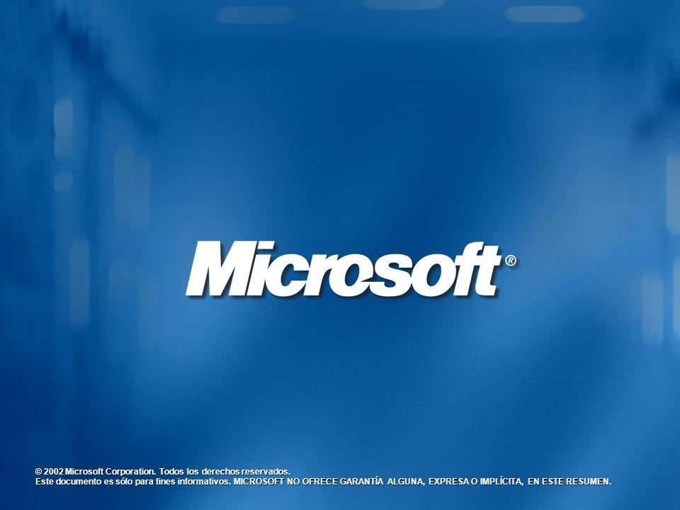 © 2002 Microsoft Corporation. Todos los derechos reservados. Este documento es sólo para fines informativos. MICROSOFT NO OFRECE GARANTÍA ALGUNA, EXPR