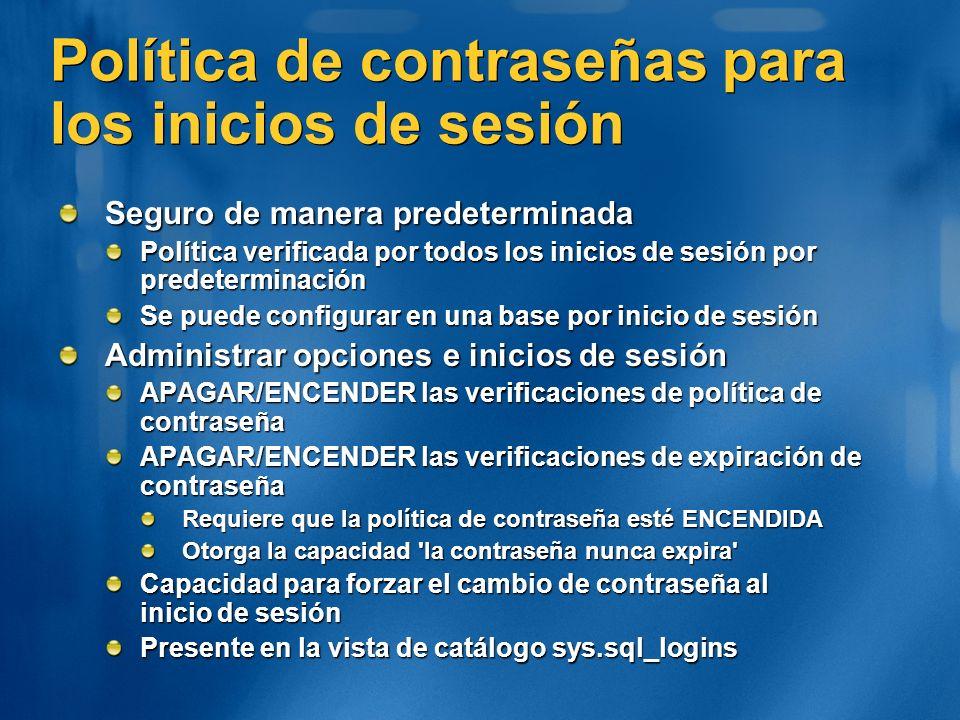 Política de contraseñas para los inicios de sesión Seguro de manera predeterminada Política verificada por todos los inicios de sesión por predetermin