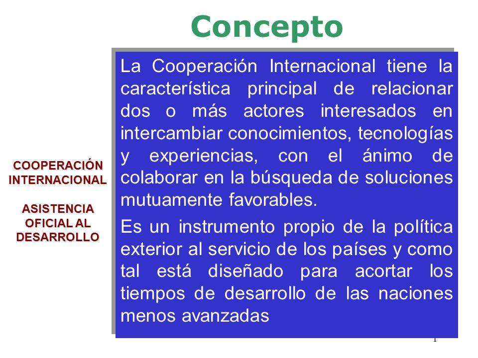 1 COOPERACIÓN INTERNACIONAL ASISTENCIA OFICIAL AL DESARROLLO La Cooperación Internacional tiene la característica principal de relacionar dos o más ac