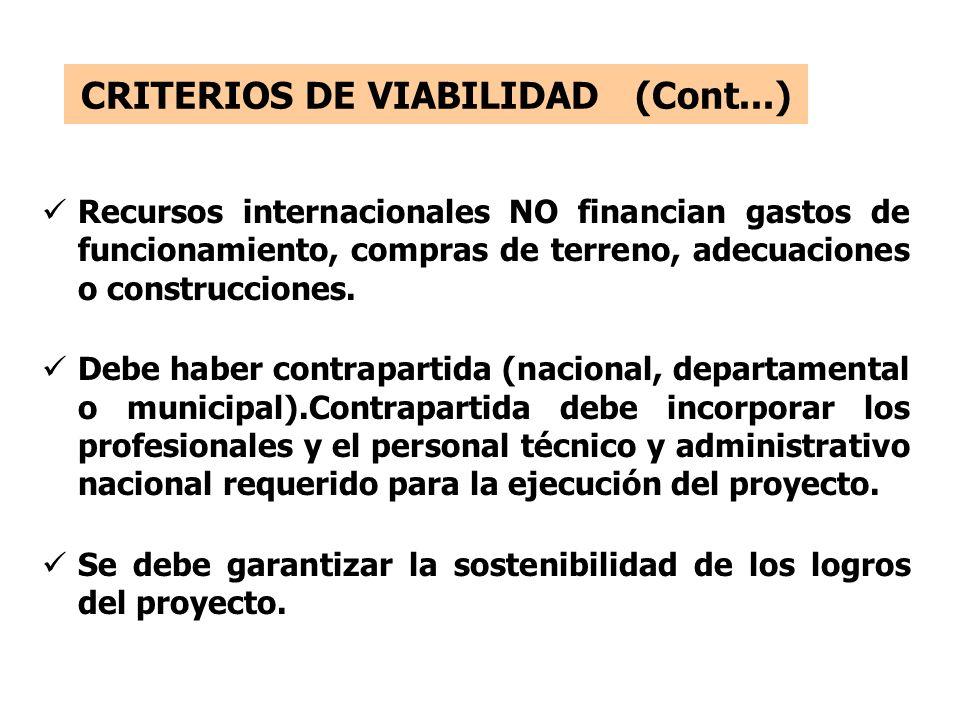 CRITERIOS DE VIABILIDAD (Cont...) Recursos internacionales NO financian gastos de funcionamiento, compras de terreno, adecuaciones o construcciones.