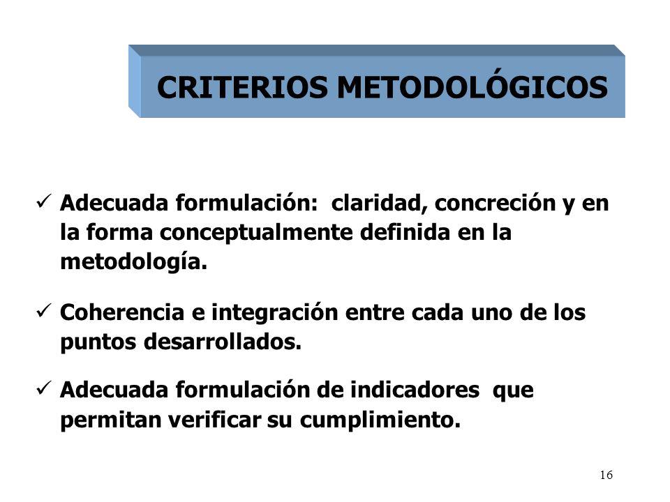 16 Adecuada formulación: claridad, concreción y en la forma conceptualmente definida en la metodología. Coherencia e integración entre cada uno de los
