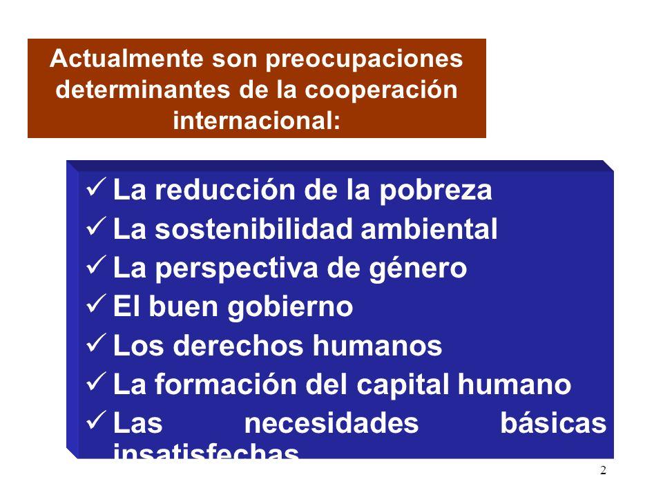 2 La reducción de la pobreza La sostenibilidad ambiental La perspectiva de género El buen gobierno Los derechos humanos La formación del capital humano Las necesidades básicas insatisfechas Actualmente son preocupaciones determinantes de la cooperación internacional: